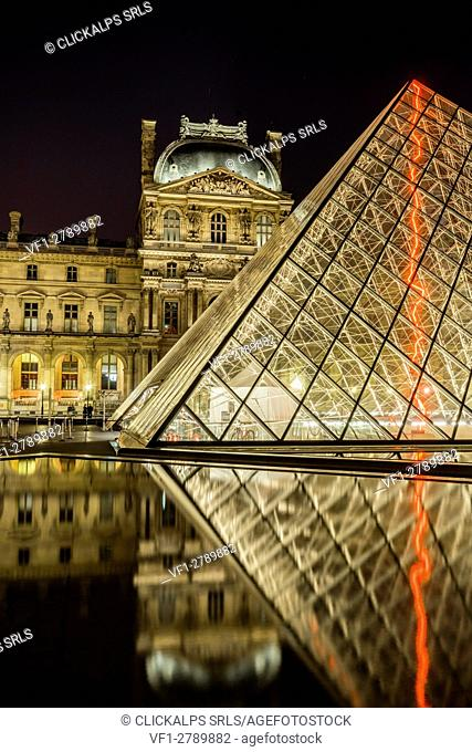 View of the Louvre Museum and the Pyramid, Paris, France