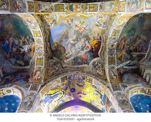 Church Santa Maria dell'Ammiraglio detta la Martorana, Details of the Ceiling, Italy, Sicily, Palermo
