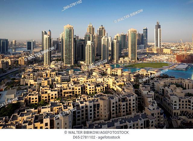 UAE, Dubai, Downtown Dubai, elevated view of Downtown area