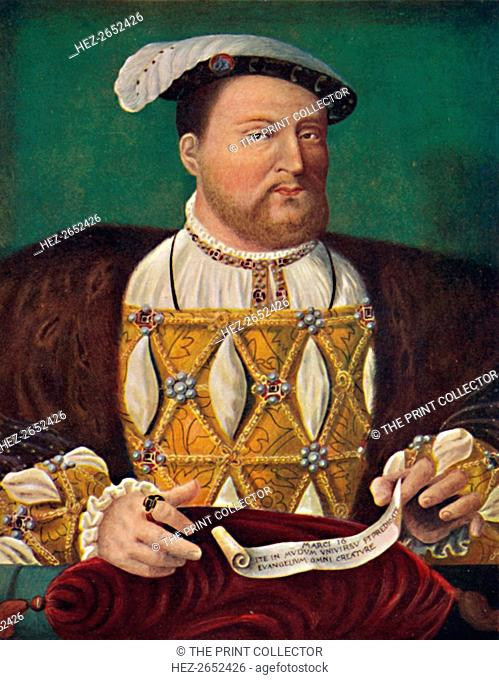 'Portrait of Henry VIII (Hampton Court Palace)', c1530, (1903). From the Royal Collection, Windsor Castle. From Social England, Volume III, edited by H