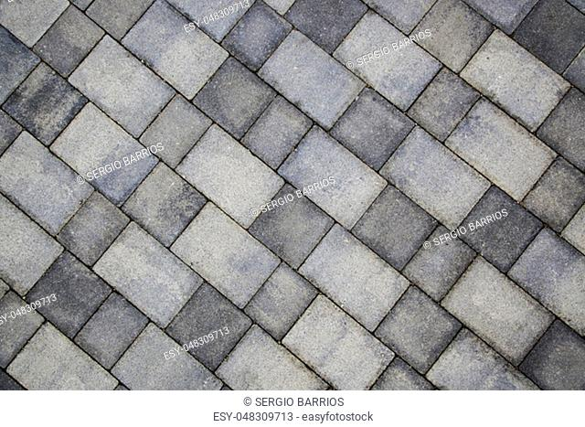 Pedestrian pavement, detail of textured and embossed pavers
