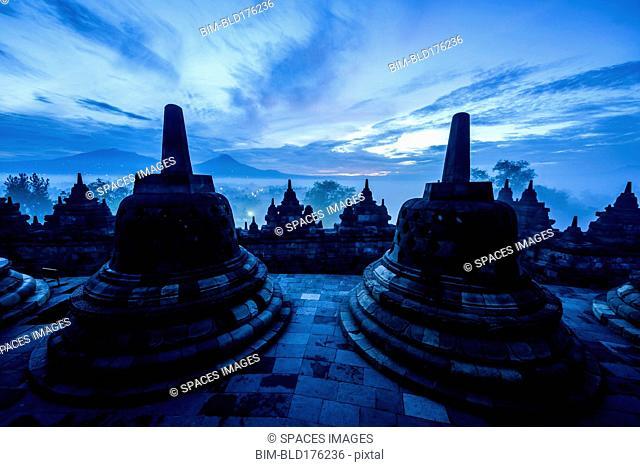 Silhouette of monuments in Borobudur, Jawa Tengah, Indonesia