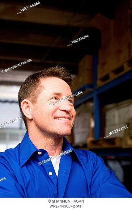 Man in a warehouse