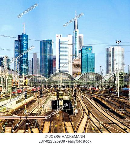 central station Frankfurt am Main with skyscrapers