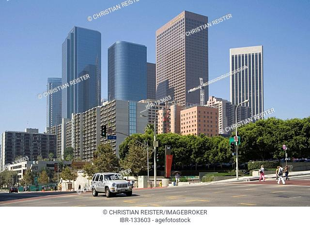 Financial District of Downtown Los Angeles, seen from Bunker Hill, California, USA