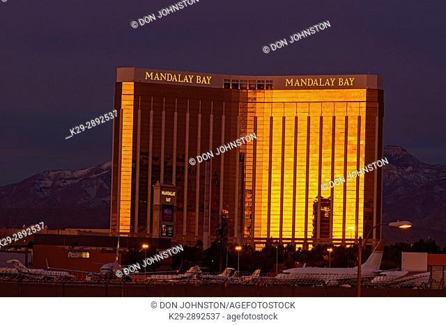 Mandalay Bay hotel casino at sunrise, Las Vegas, Nevada, USA
