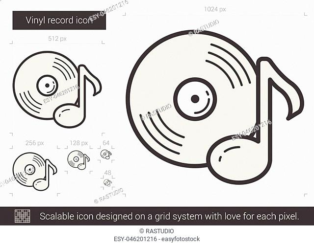 Vinyl record vector line icon isolated on white background. Vinyl record line icon for infographic, website or app. Scalable icon designed on a grid system
