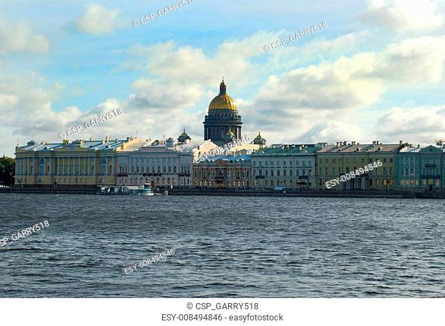 Neva river and St Isaac's Cathedral