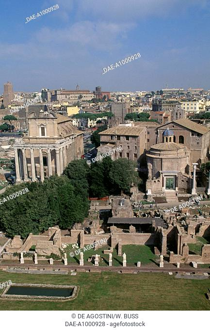 View of the temples of Antoninus and Faustina and the Temple of Divus Romulus, Roman Forum, Rome (UNESCO World Heritage List, 1980), Lazio, Italy