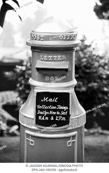 Old post office letter box in Elgin Hotel Darjeeling West Bengal India Asia 2011