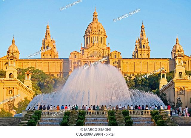 Magic Fountain and Palace of Montjuic, Catalonia, Spain