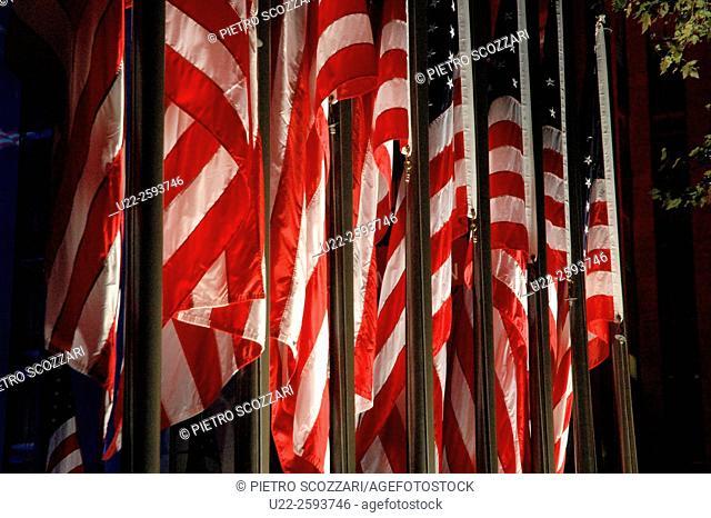 USA, New York City, american flags outside Rockefeller Center