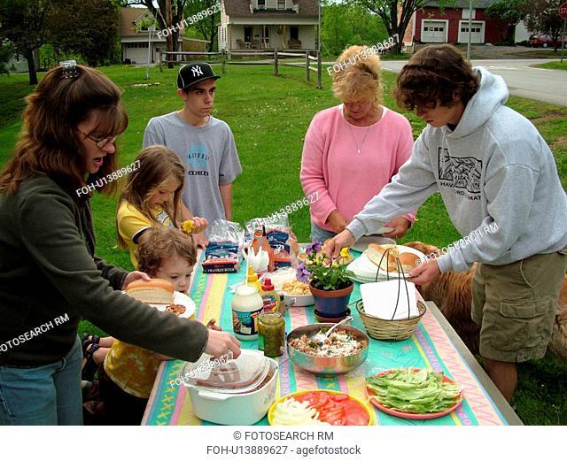 Montpelier, VT, Vermont, friends having picnic