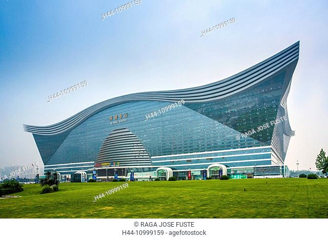 architecture, artificial beach, big, building, Chengdu City, China, entrance, Global Center, Shopping Mall, Sichuan, touristic, travel, Water Park