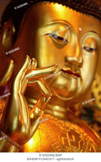 Po Lin Monastery. Medicine Buddha statue in main Hall
