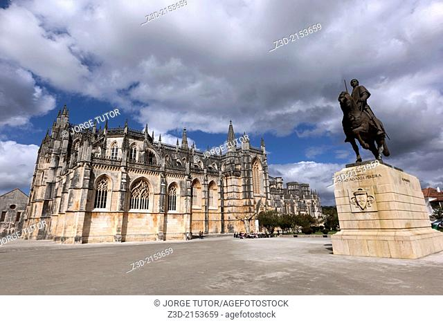 Monastery of Batalha, Mosteiro da Batalha, and the statue of Nuno Alvares Pereira. UNESCO World Heritage Site. Batalha, Portugal