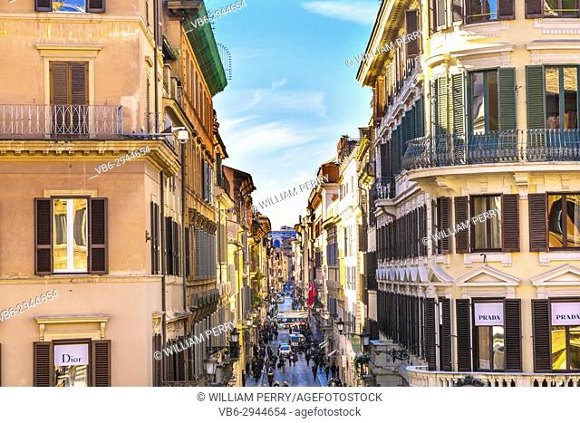 Via Condotti Famous Shopping Street, Rome, Italy. Narrow street with many famous designer brands leads to the Spanish Steps on one end