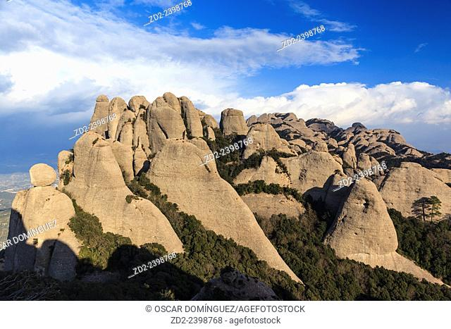 Rock formations. Montserrat Natural Park. Barcelona province. Catalonia. Spain