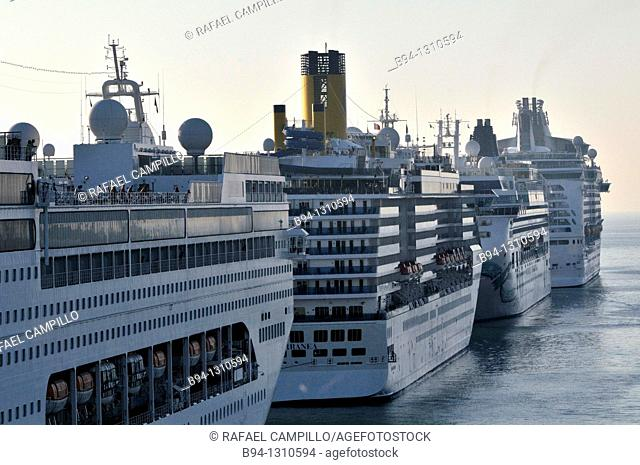 Cruise ships in harbour, Civitavecchia, Lazio, Italy