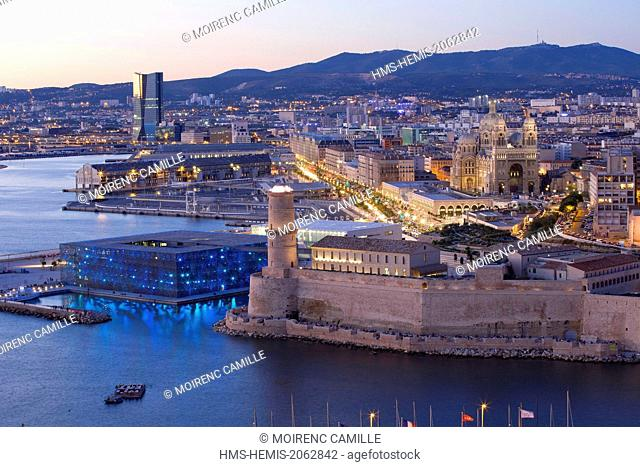 France, Bouches du Rhone, Marseille, Euromediterranean area, Fort Saint Jean Monument History class, MuCEM Museum of Civilization in Europe and the...