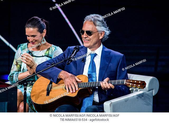 Andrea Bocelli with wife Veronica Berti during the tv show Che tempo che fa, Milan, ITALY-06-05-2018