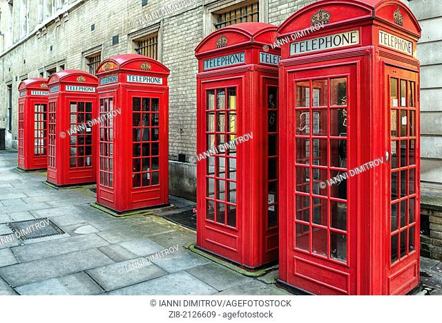 K2 red telephone boxes on Broad Street, Covent Garden, London