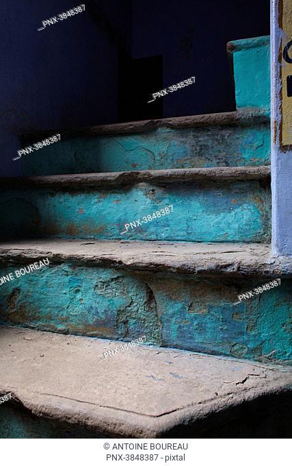 Turquoise blue stairway, Varanasi, India