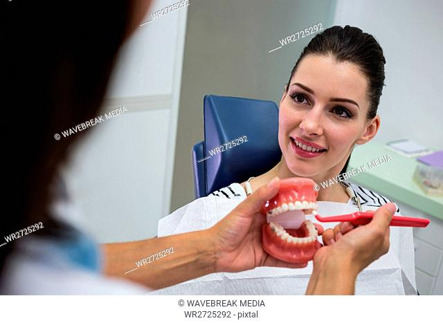 Dentist showing set of model teeth to the patient