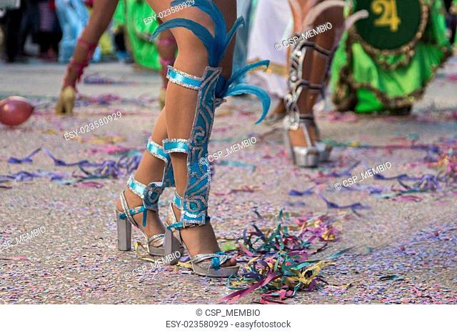 woman's legs in a Carnival parade