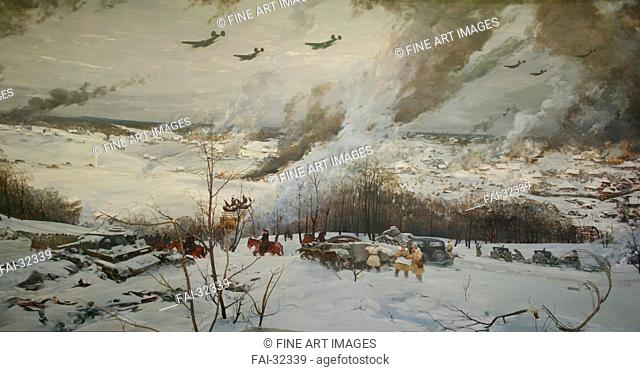 The Battle of Moscow 1941 by Danilevsky, Evgeny Ivanovich (1928-2010)/Oil on canvas/Soviet Art/Russia/Museum of the Great Patriotic War