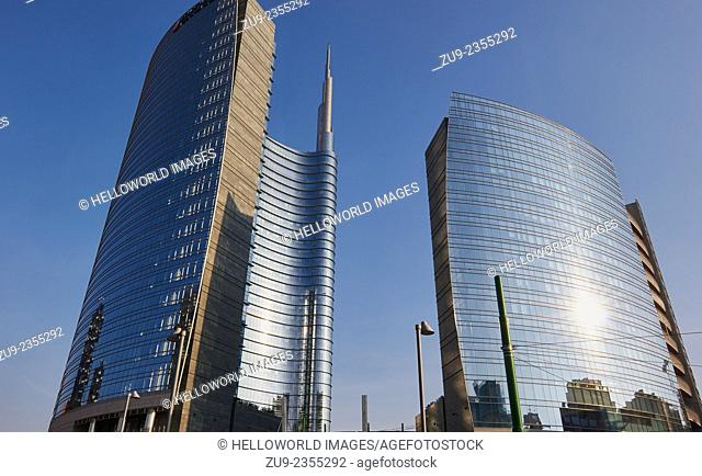 The Unicredit Tower by Cesar Pelli is the tallest building in Italy. Porta Nuova district, Milan, Lombardy, Italy, Europe