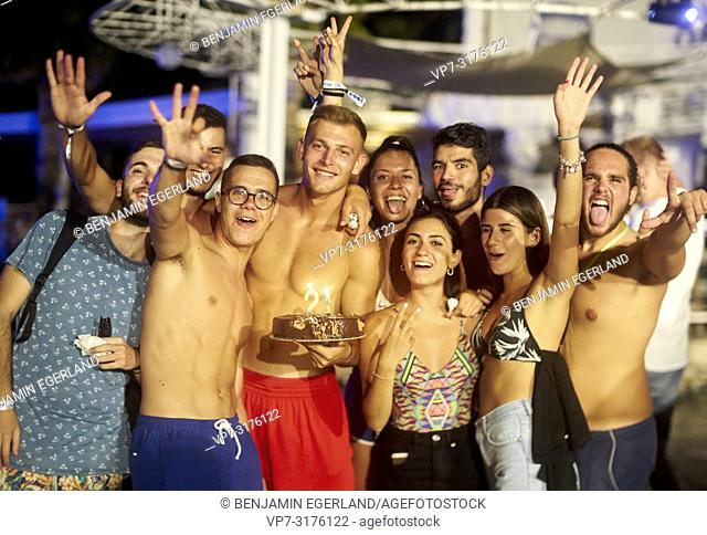 party people celebrating 21 birthday at music festival Starbeach Chersonissos, Crete, Greece, at 06. August 2018