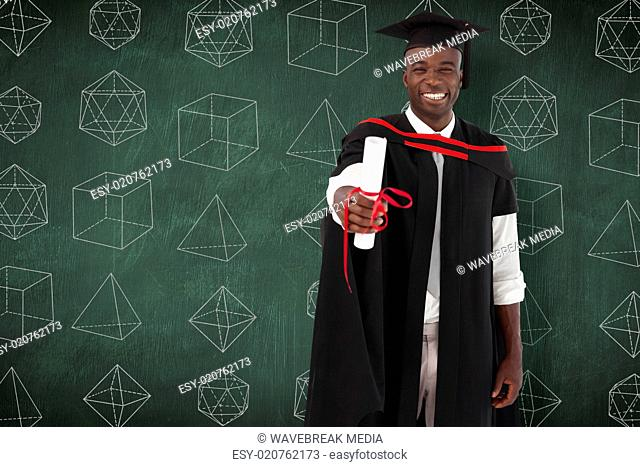 Composite image of man smilling at graduation