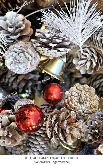 Chritsmas decoration. Sta Llúcia Christmas fair. Barcelona. Catalonia. Spain