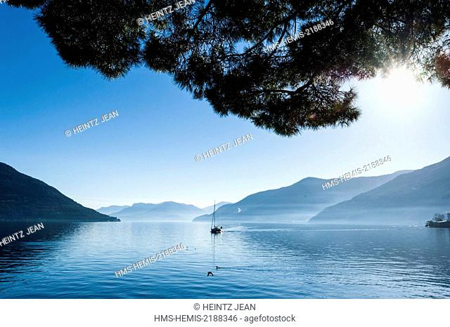 Switzerland, Ticino, Ascona, resort on the shore of Lake Maggiore
