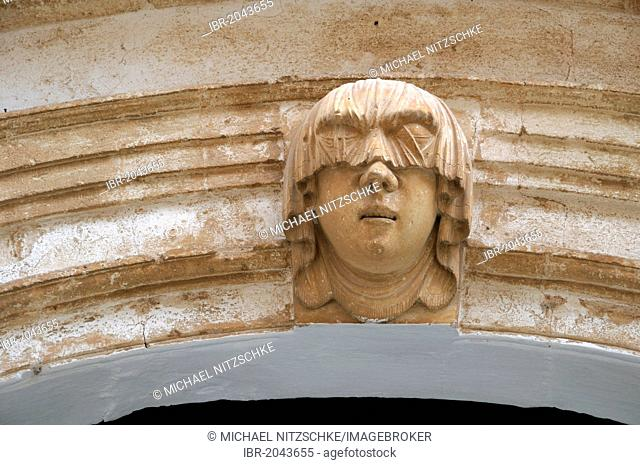 Woman's head with a blindfold, Saura Palace, Ciutadella, Menorca, Balearic Islands, Spain, Europe