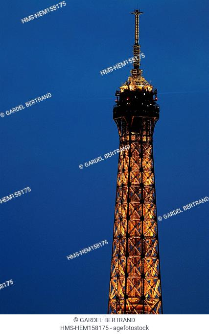 France, Paris, Eiffel Tower night lighting by Pierre Bideau, reproduction rights