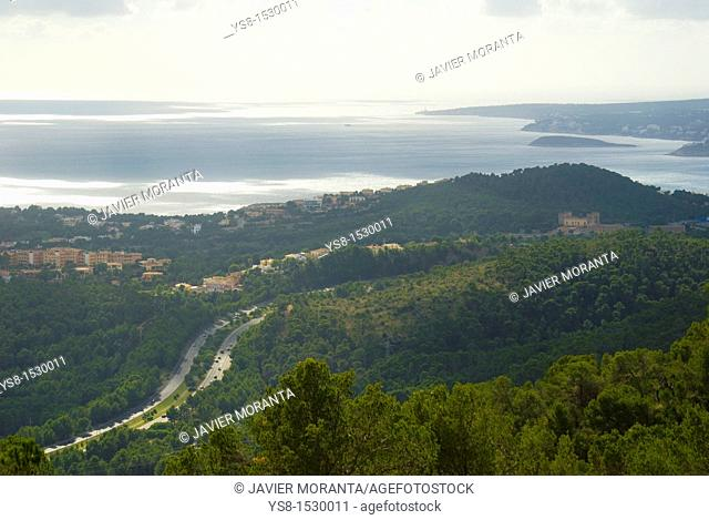 Spain, Balearic Islands, Mallorca, Views on the southern coast of the island of Mallorca and Palma highway section, Calvia