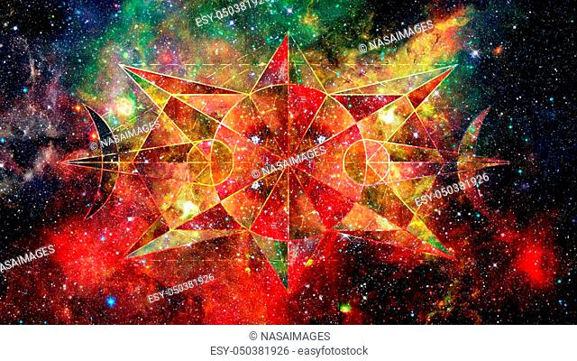 Abstract hipster geometric background with triangles, circles, nebula, stars and galaxy. Elements of this image furnished by NASA
