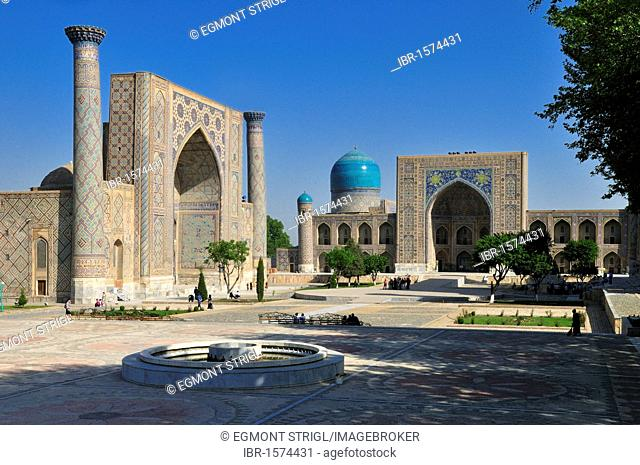Registan Square with Ulugh Beg and Tilya Kori Madrasah, Samarkand, Unesco World Heritage Site, Silk Road, Uzbekistan, Central Asia