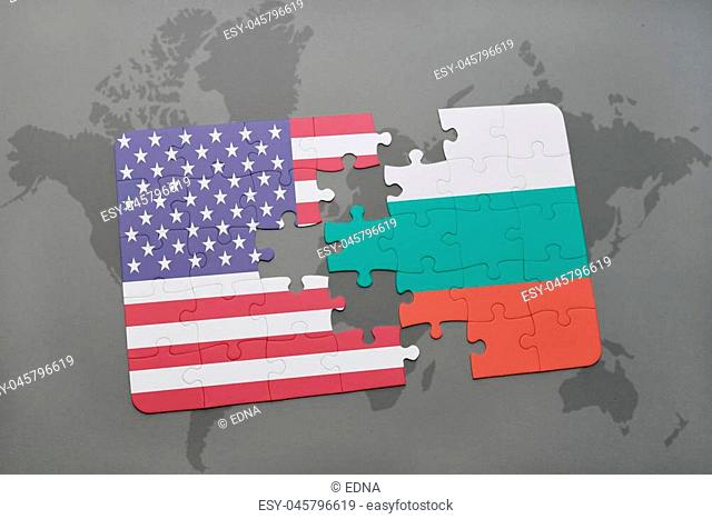 puzzle with the national flag of united states of america and bulgaria on a world map background