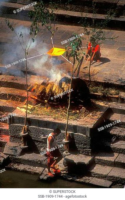 Nepal Kathmandu Pashupatinath Temple is a World Heritage site where cremation ceremonies are held for those dying in Kathmandu Nepal Asia