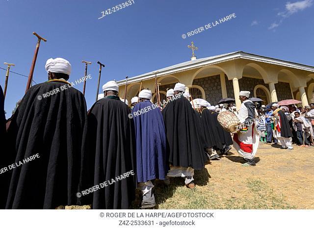 Christian religious ceremony at St. Neakutoleab Monestry near Lalibela. Ethiopia