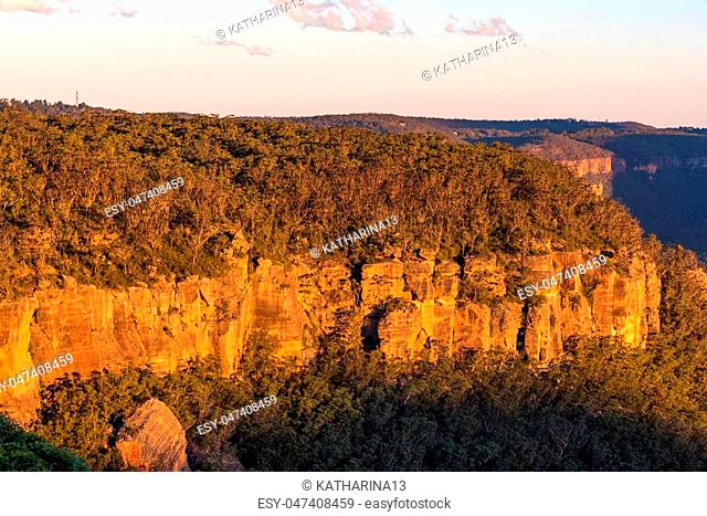 Beautiful rock formation sunlit on sunset. Pulpit rock, Mount Victoria