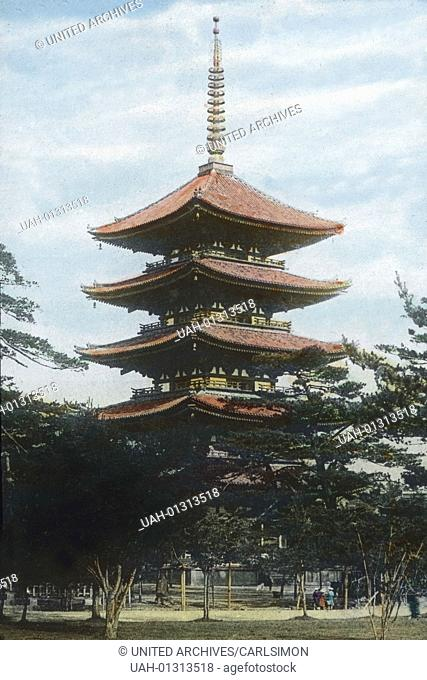 Japan, prefecture of Nara, the wooden five-story pagoda of Horyu-ji , built in the 7th century and situated in the Buddhist temple area in Ikaruga