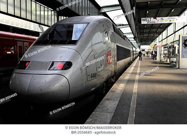 TGV, French high speed train, Stuttgart to Paris service, central station, Stuttgart, Baden-Wuerttemberg, Germany, Europe