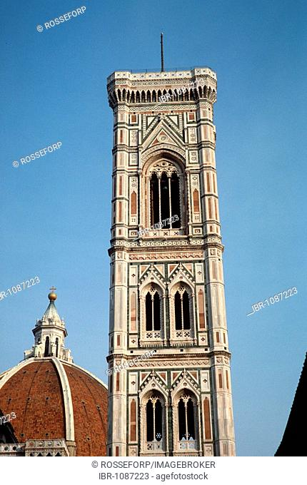 Giotto's bell tower, Florence Cathedral, Basilica di Santa Maria del Fiore, detail, Florence, Tuscany, Italy, Europe
