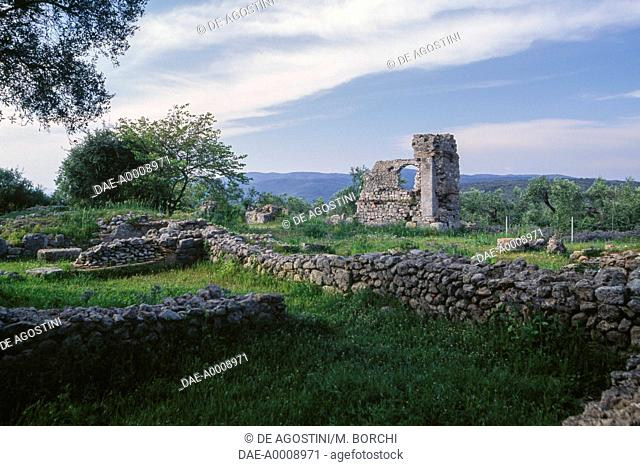 Ruins of the Basilica, 140 BC ca., Archaeological Area of Cosa, Ansedonia, Tuscany, Italy, Roman civilization, 2nd century BC