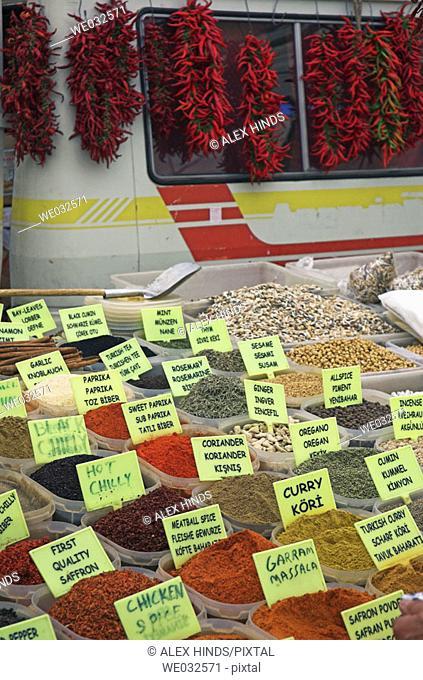 Fresh spices for sale at market. Fethiye, Turkey