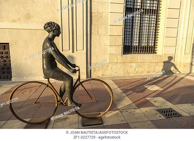 Sculpture venus en bicicleta, venus in bike, by Antonio Campillo,front palace,palacio almudi. Murcia,Spain